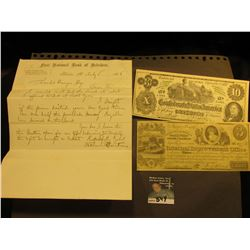 "Civil War Era letter July 5, 1865 on letter head from ""First National Bank of Belvidere"" Belvidere,"