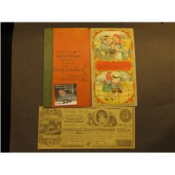 "1912 Account book ""Bank of Millington Millington, Ills.""; Advertising Card ""Page Woven Wire Fence Co"