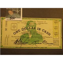 "1936 ""One Dollar in Cash"" Depression Scrip ""The Fostoria Industrial Corporation...Fostoria, Ohio"" ca"