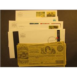 """(9) 1975-76 era Israel stamped covers, Mint condition; & (32) $3 Reproduction """"Internal Improvement"""