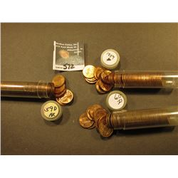 1959 P, 59 D, & 60 D BU Rolls of Lincoln Cents, The first appears to be short a few coins. (3 rolls)