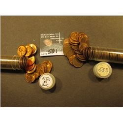 1955 D & 58 P AU to Uncirculated Rolls of Lincoln Cents in a Plastic tube. The first maybe missing a