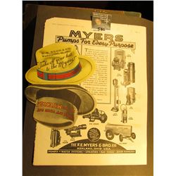 """A couple of pieces of """"Myers & Brothers"""" Advertising memorabilia; & 1923 P U.S. Peace Silver Dollar."""