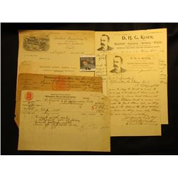"(2) Letters with Letterhead from ""Office of D.H.G. Kuser Wholesale and Retail Dealer in Agricultural"