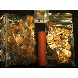 (49) 1960 D BU,(49) 1964 P AU-Unc, & 1966 BU Roll of 50 U.S. Lincoln Cents. (148 coins total).