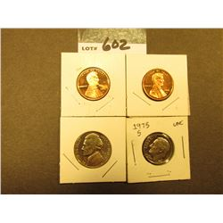 (2) 2006 S Cents, (1) 1970 S Nickels, & (1) 1975 S Dime.  All Proof.