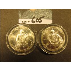 (2) 1982 D George Washington Silver Commemorative Halves, encased. Gem BU.