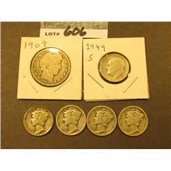 1935 P, 36 P, 37 D, 38 P, & 49 S Silver Dimes, & 1909 P Barber Quarter. Circulated.