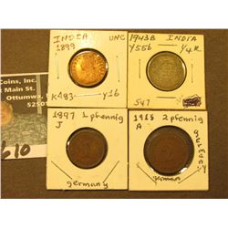 1899 1/12 Anna Red-Brown BU, KM483; 1897J German Pfennig, VF; 1915A German 2 Pfennig, VF; & 1943D In