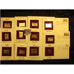 (12) 22Kt. Gold Replica Stamps in First Day of Issue Covers. 1991-92 era.