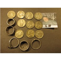 (4) Sterling Silver Rings & (10) 1943 (Silver) War nickels.