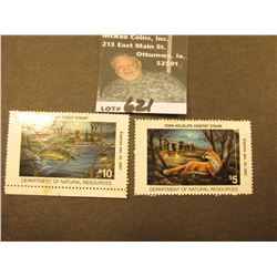 1987 Unsigned Iowa Trout Stamp & 1997 Iowa Wildlife Habitat Stamp Unsigned (depicts a Red Fox).