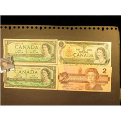 (2) Series 1954 $1; (1) Series 1973 $1; & Series 1986 $2 Canada Bank Notes.