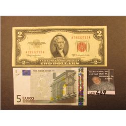 "Series 1953C $2 U.S. Note ""Red Seal"", small tear at lower left; & Series 2002 $5 Euro Bank note."