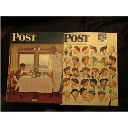 "(2) different ""The Saturday Evening Post"" Covers depicting Normal Rockwell Illustrations with  Dexte"