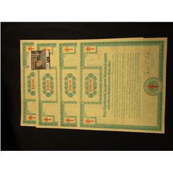 "$20, (2) $100, & $500 ""The Crusade of the Double-Barred Cross Christmas Seal Bond"". Blue Green litho"