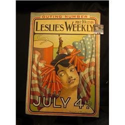 "July 6, 1901 ""Leslie's Weekly"" ""July 4th.""  Woman with Hairband of Firecrackers.  Price 10-Cents."
