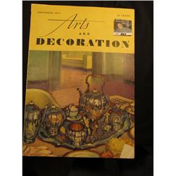 "November 1934 ""Arts and Decpration"" Painting of Dining Room Table by Stoner. .35-Cents."