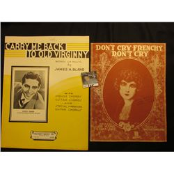 """""""Carry Me Back to Old Virginny"""" By Buddy Fisher and his Orchestra, """"Don't Cry Frenchy Don't Cry"""" By"""