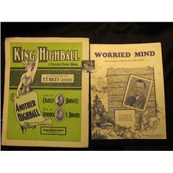 """Worried Mind"" By Jimmie Davis & Ted Daffan, ""King Highball"" A Fantastic Comic Opera. Music Sheets."