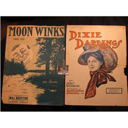 """Moon Winks"" By Geo. Stevens, ""Dixie Darlings"" By Percy Wenrich. Music Sheets."