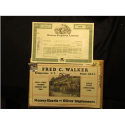 Fred C. Walker Bridgewater, N.Y. Massey-Harris and Oliver Implements Calander Top and 100 Shares of