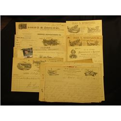 1890 to early 1900 era group of Invoices and letter heads relating to Farming, Equipment, and etc.