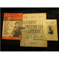 "1943 ""Latest Hit Songs Words and Music…""; Sheet Music ""Goodbye Sweetheart Goodbye""; & 1956 Catalog """