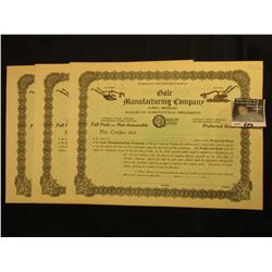 "(3) Unissued Stock Certificates ""Gale Manufacturing Company Albion, Michigan Makers of Agricultural"
