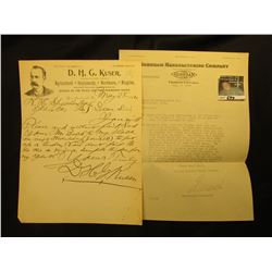 "Letter with Letter Head ""Burnham Manufacturing Company Manufacturers of The Burnham Line Office and"