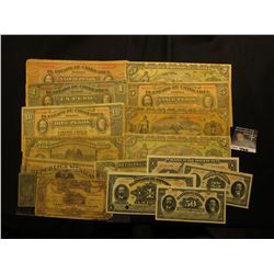 (16) Pieces of Mexico Bank Notes dating back to the Revolutionary War Period. Most are different.