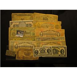 Large group of Mexico Bank Notes dating back to the Revolutionary War Period. 15 different.