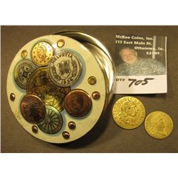 England made Container with Coin design containing a 1788 Great Britain Half-Spade Guinea Counter &