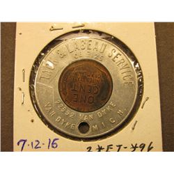 "1946 Encased Cent, ""Tack & Labeau Service/CE 9125/22552 Van Dyke/Van Dyke, Mich."", holed."