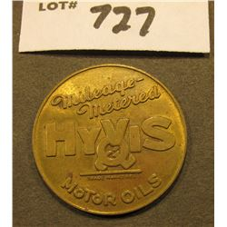 """Mileage-/Metered/Hy Vis Motor Oils"", back sectioned with figures, AU, brass, 33 mm."