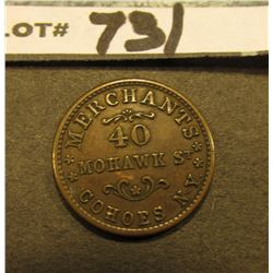 "Civil War Token. ""Alden & Frink/1863"", ""Merchants/40/Mohawk St./Cohoes, N.Y."", VF+. #8604 Obverse di"