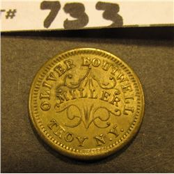 "Civil War Token. ""Oliver Boutwell/Miller/Troy, N.Y."", ""Redeemed/At/My Office/1863"". #3122 Obverse di"