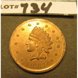 "1863 Civil War Store Card Token. Indian Head design. ""John Schum's/88/First Ave. N.Y. Saloon"", 29mm,"