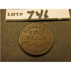 "1863 Civil War Token. Winged-helmet Mercury obv., ""Pittock's/News/Depot/opp, Post Office/Pittsburg"","
