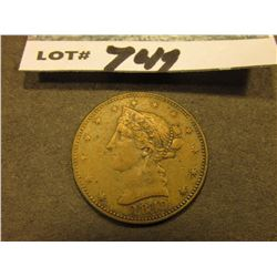 """California/1849"" Depicts Gold Panner, ""1849"" Liberty head design. 23mm."