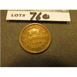 "Civil War Token. ""Redeemed/by/D.L. Wing & Co./Albany, N.Y."", ""Union/Flour"", VF."