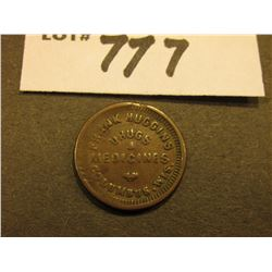 "1863 Civil War Token. Long-necked Eagle obverse, rev. ""Frank Huggins/Drugs/&/Medicines/Columbus, Wis"