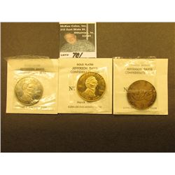 """Jefferson Davis Confederate Seal no. 27"" Three-piece set from March 1961 Coin-of-the Month Club. Ox"