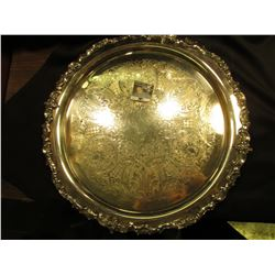 "16""  Unmarked (Silver-plated???) Serving Plate. Excellent condition."