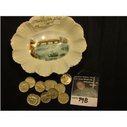 "Souvenir trinket dish from ""Monterey Dam, Janesville, Wis."" Includes (12) Higher grade Mercury Dimes"