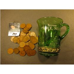 "Emerald Glass Mug with Goldine base marked ""Souvenir of Pierce, Nebr."" with (51) Old 1940 era Panama"