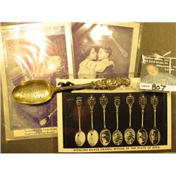 """Brooklyn/Ia"" Souvenir Spoon stamped on back ""Sterling""; & (3) Old Postcards, first with 2 1/2c of U"
