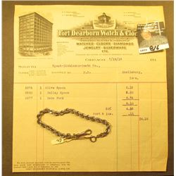 "Men's Sterling Silver Rope 9"" Watch Chain & an invoice from ""Fort Dearborn Watch & Clock Co….7/18/19"