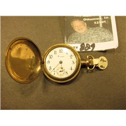 "Small Ladies size Hunting Case Pocket Watch ""Crown Watch Co."", scroll engraved case. Runs for only a"