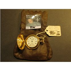 Leather Pouch with a 7 Jewel American Waltham Closed face Ladies' Pocket watch, with a super elabora